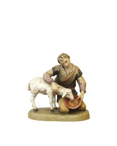 "Anri Kuolt 3"" Kneeling Shepherd with Sheep"