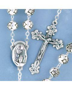Rosebud Silver Metal Rosary