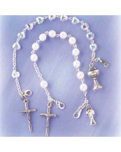 Iridescent Hearts Rosary Bracelet