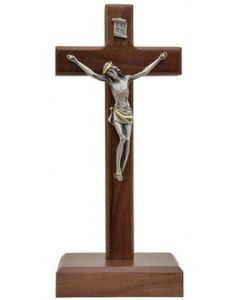 """Standing Walnut Crucifix with Pewter Corpus, 8"""""""