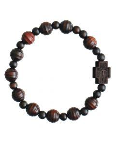 Jujube Wood Striped Cut Rosary Bracelet