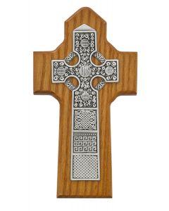 Celtic Cross Wood/Pewter