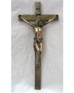 """Crucifix, Cold-Cast Bronze, 13"""""""