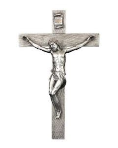 Crucifix pewter style finish with golden highlights, 17""
