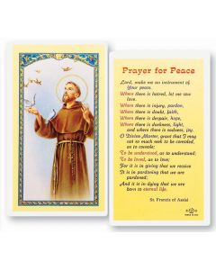 St. Francis, Prayer for Peace, Holy Card