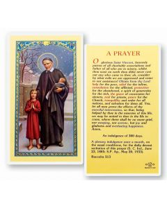 Prayer to St. Vincent De Paul Holy Card