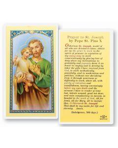 St. Joseph Prayer by Pius X Holy Card