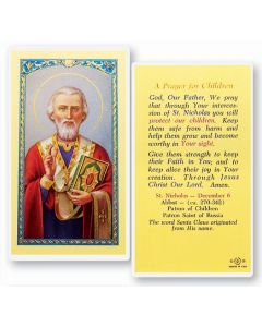 St. Nicholas, Prayer for Children, Holy Card
