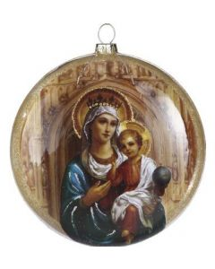 Glass Madonna and Child Iconic Ornament