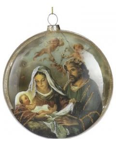 Glass Holy Family Ornament