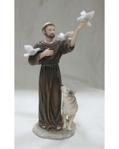St. Francis with animals, hand painted, 11""
