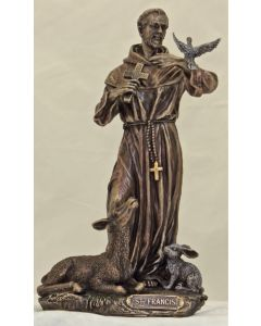 St. Francis with animals, cold cast bronze