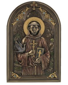 St. Francis Veronese wall plaque, cold cast bronze
