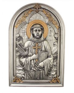 St. Francis plaque in a pewter style finish with gold highlights