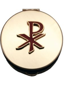 Pyx Gold Stamped with Red Epony Chi Rho