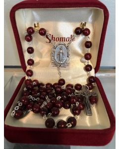 Rosary Burgundy with Relic in Crucifix