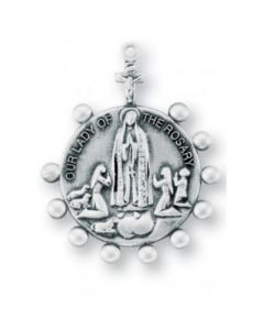 Our Lady of the Rosary Round Sterling Silver Medal