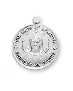 Our Lady of Loreto Round Sterling Silver Medal