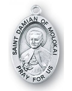 St. Damien of Molokai SS Medal Oval