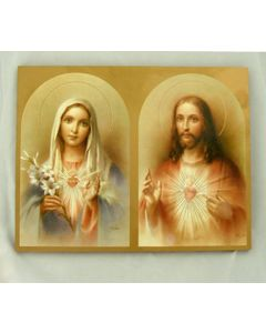 Sacred Heart of Jesus and Immaculate Heart of Mary Florentine Plaque