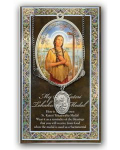 Pewter St. Kateri Tekakwitha Medal