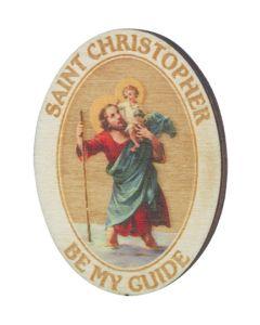 St. Christopher wood visor Clip