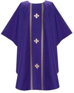 Chasuble Galloon trim with 3 Sq Fleury Crosses