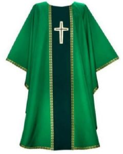 Chasuble Green with Contrasting Orphrey and B201 Gallon Trim